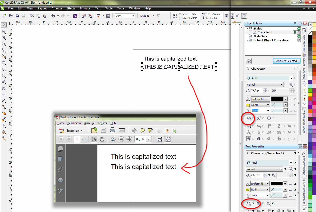 BR: CorelDRAW doesn't export object style parameters to PDF