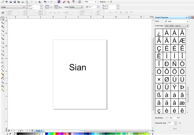 Adding above the letter a for the name Sian munity site