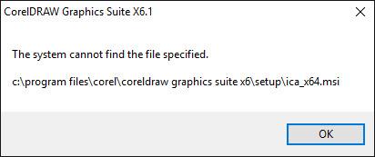 CoreldrawX6 - Windows 10 - Uninstalled now can't Reinstall