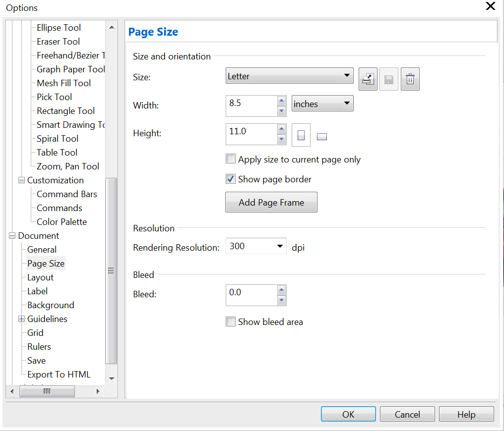 how to change page size in coreldraw