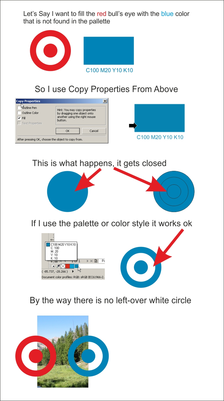 Corel Draw X6 & X7 both closes curves when copying color