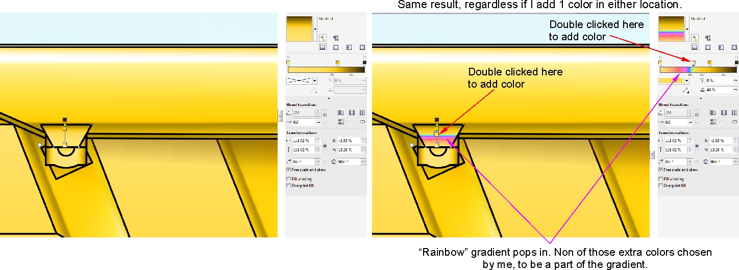 Gradient colors change to what is not there. - CorelDRAW