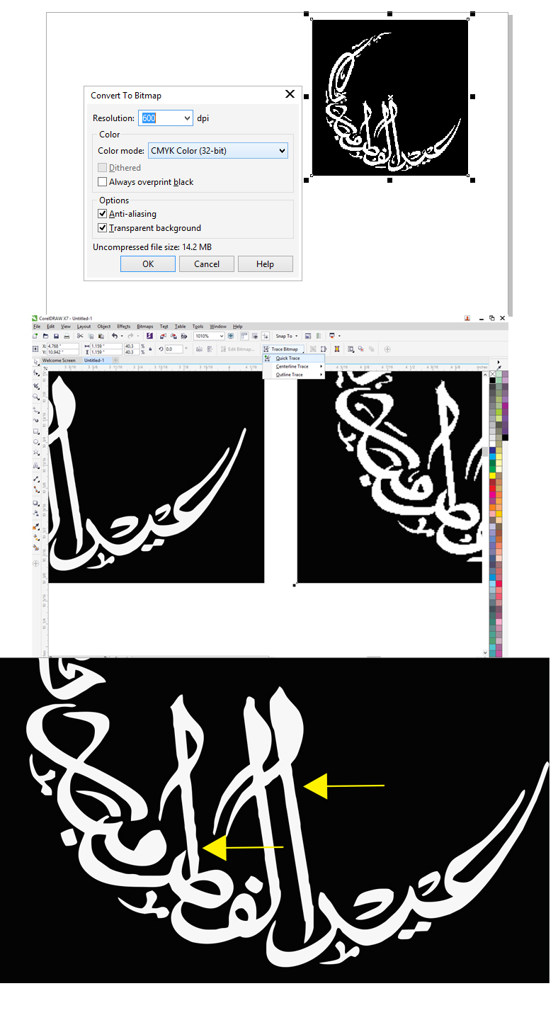 how to smooth trace from a pixlate image or font coreldraw x7 rh community coreldraw com Corel Photo Paint 7 coreldraw x7 manual