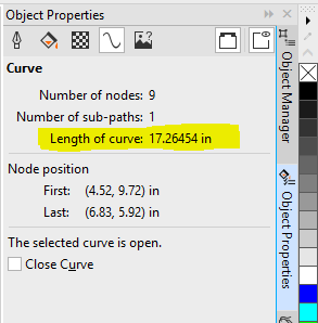 measure curve length in Coreldraw X8 - CorelDRAW X8