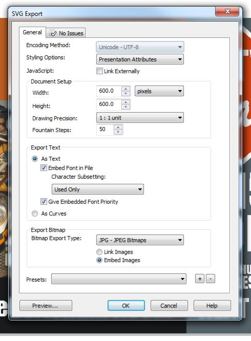 Export CDR to SVG not proportionate and very buggy! - CorelDRAW X4