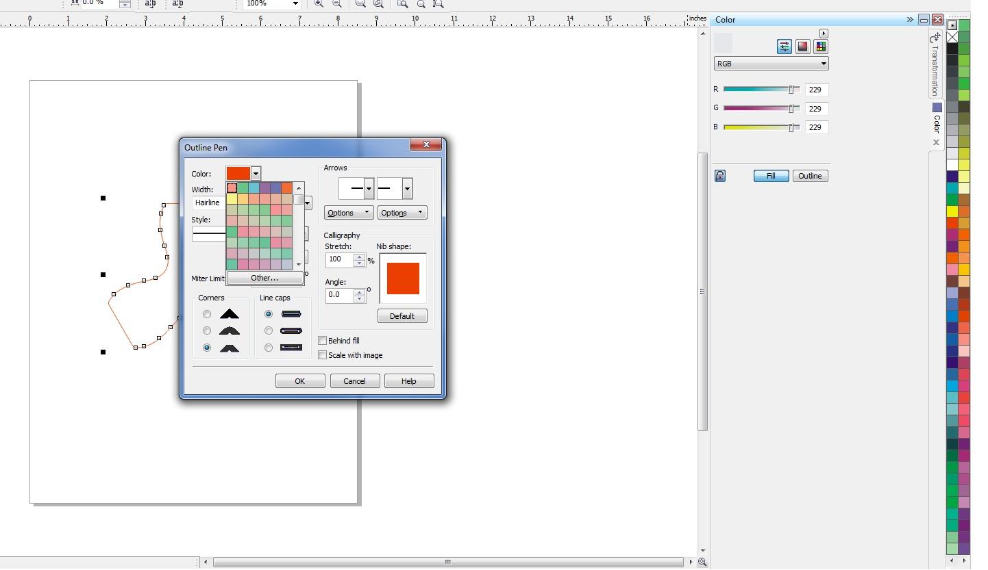 Line color in coreldraw - Corel Draw Outline Pic Jpg
