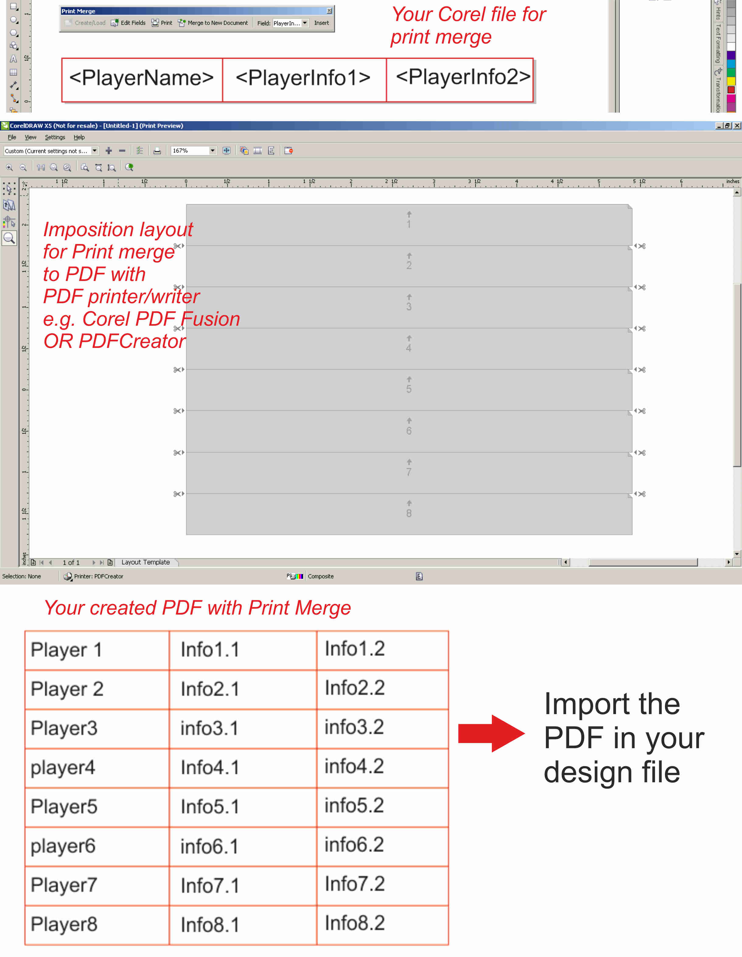 Print Merge - multiple records on one page? - CorelDRAW X5