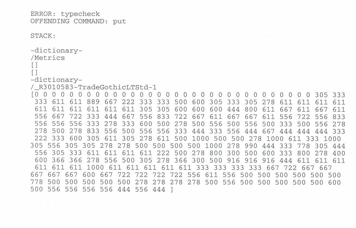 PostScript error when printing OpenType fonts in X6