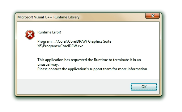 RUNTIME ERROR - CorelDRAW X6 - CorelDRAW Graphics Suite X6
