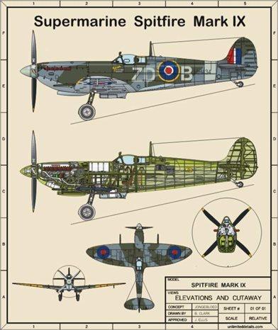 Spitfire Cutaway Blueprint - DelphicDesigns' Gallery