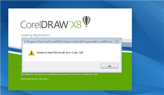 How to fix unable to load VGCore dll error code 126 - CorelDRAW X8