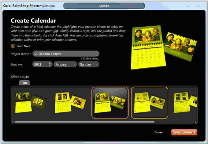PSPX3 Project Creator tinted yellow for Calendar, book, card, and ...