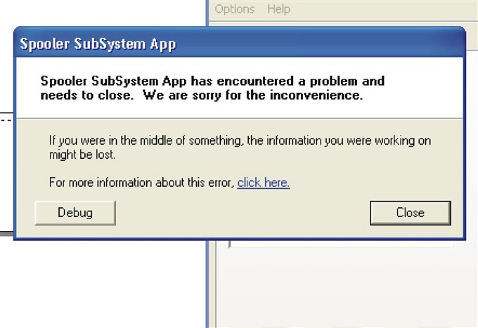 spooler subsystem app stopped working xp