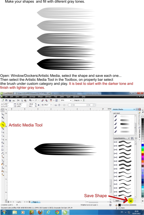 Hair/fur with color depth tutorial. Coreldraw graphics suite x5.