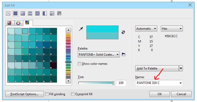 Corel draw pantone color palette colors